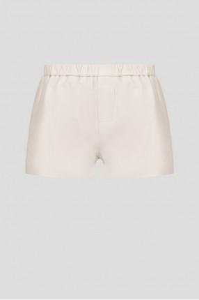 Женские бежевые кожаные шорты