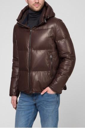 Мужская коричневая кожаная куртка 1