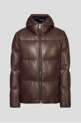 Мужская коричневая кожаная куртка