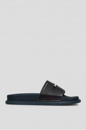 Мужские темно-синие кожаные слайдеры