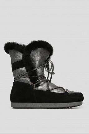 Женские серебристые кожаные ботинки