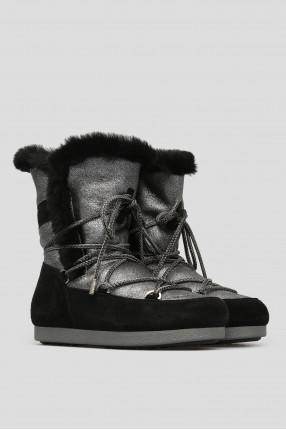 Женские серебристые кожаные ботинки 1