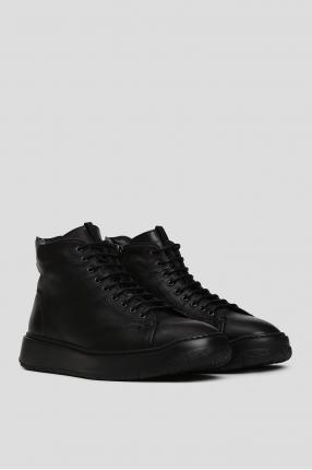 Мужские черные кожаные хайтопы с мехом 1