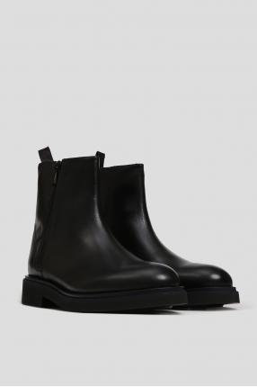 Мужские черные кожаные ботинки с мехом 1