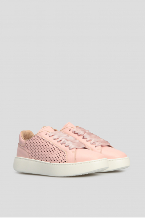 Женские розовые кожаные сникеры 1