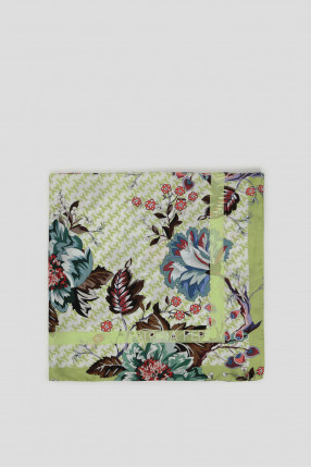 Женский салатовый шелковый платок 1