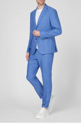 Мужской голубой льняной костюм (блейзер, брюки) 1