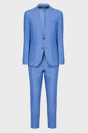 Мужской голубой льняной костюм (блейзер, брюки)