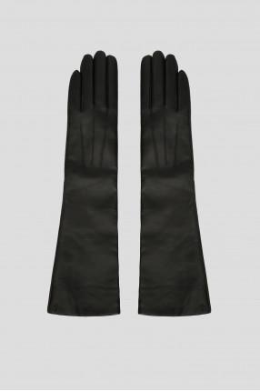 Женские черные кожаные длинные перчатки