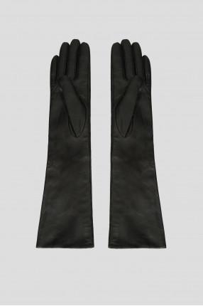 Женские черные кожаные длинные перчатки 1