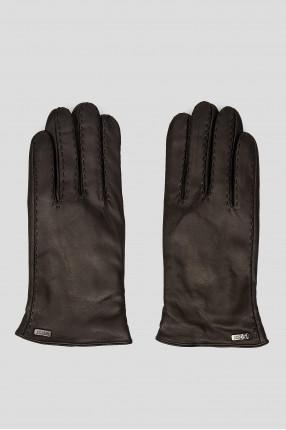 Мужские черные кожаные перчатки