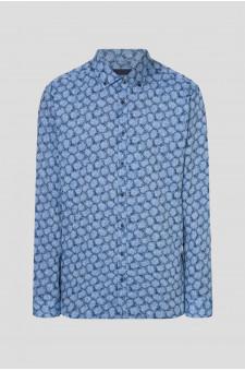 Мужская синяя рубашка с узором