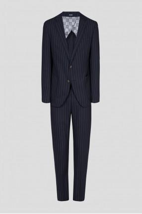 Мужской темно-синий костюм в полоску (пиджак, брюки)