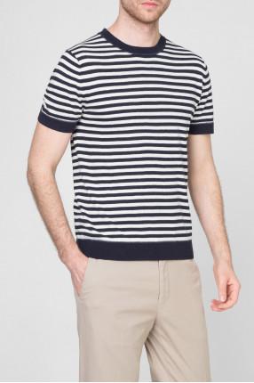 Мужская темно-синяя футболка в полоску 1