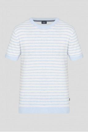 Мужская голубая футболка в полоску