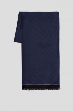 Мужской темно-синий шерстяной шарф с узором