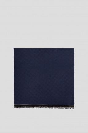 Мужской темно-синий шерстяной шарф с узором 1