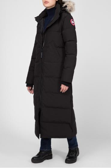 Женское черное пуховое пальто 2