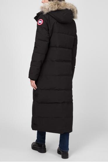 Женское черное пуховое пальто 3