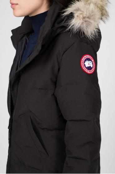 Женское черное пуховое пальто 4