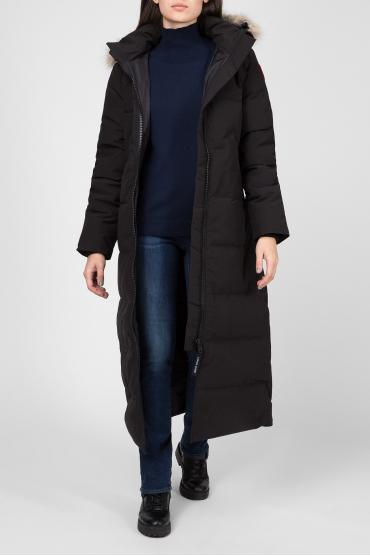 Женское черное пуховое пальто 5
