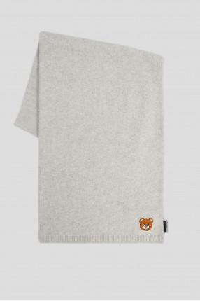Женский серый шерстяной шарф