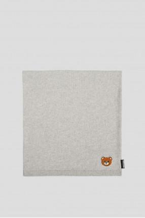 Женский серый шерстяной шарф 1
