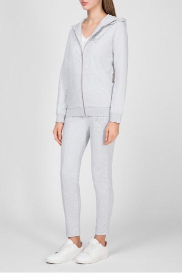 Женский серый спортивный костюм (худи, брюки) 2