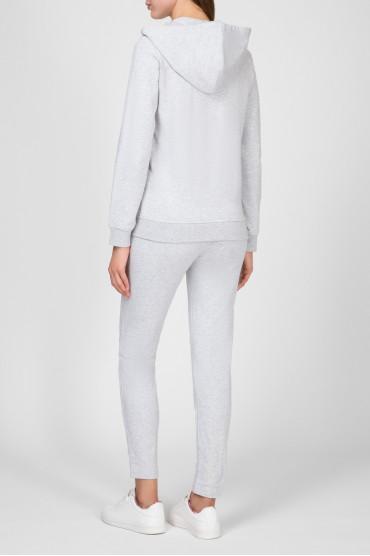 Женский серый спортивный костюм (худи, брюки) 3