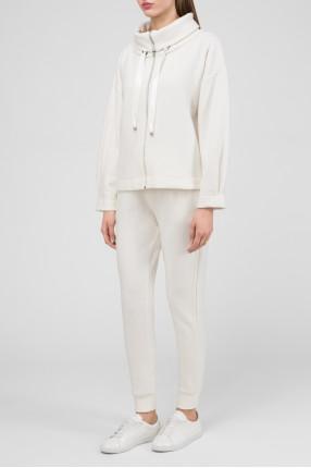 Женский бежевый шерстяной костюм (кардиган, брюки) 1