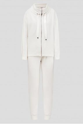 Женский бежевый шерстяной костюм (кардиган, брюки)