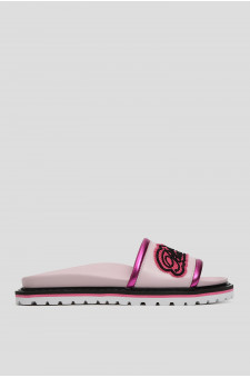 Женские розовые кожаные слайдеры