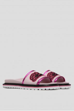 Женские розовые кожаные слайдеры 1