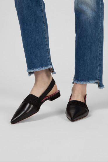 Женские черные кожаные слингбэки 6