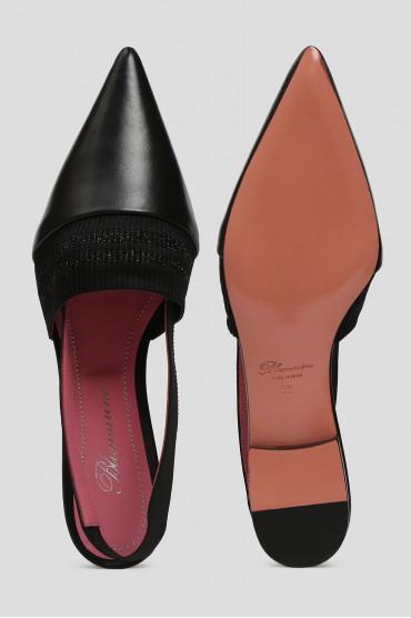 Женские черные кожаные слингбэки 4