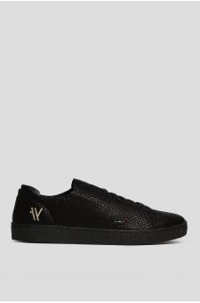 Мужские черные кожаные сникеры CLUB YOKA