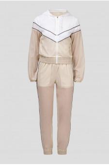 Женский светло-бежевый спортивный костюм (кофта, брюки)