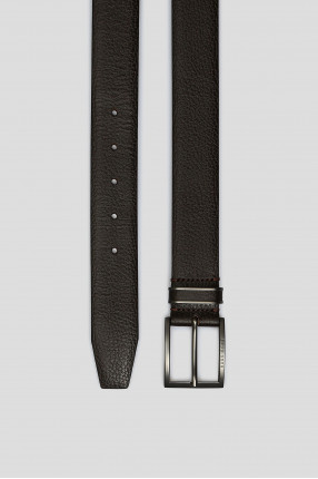 Мужской темно-коричневый кожаный ремень 1