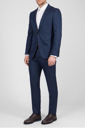 Мужской синий шерстяной костюм (пиджак, брюки) 1