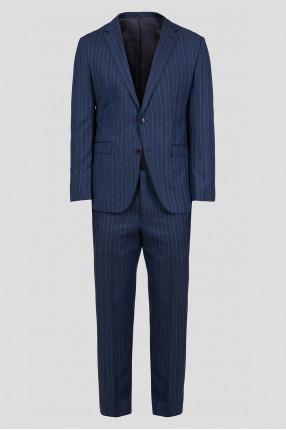 Мужской синий шерстяной костюм (пиджак, брюки)