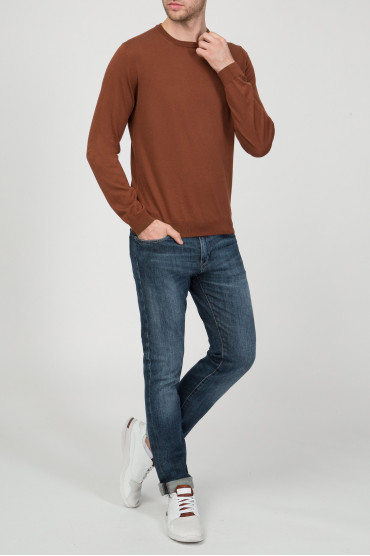 Мужской коричневый джемпер Slim Fit 5