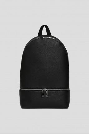 Мужской черный кожаный рюкзак
