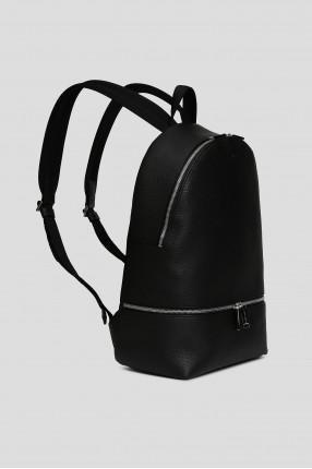 Мужской черный кожаный рюкзак 1