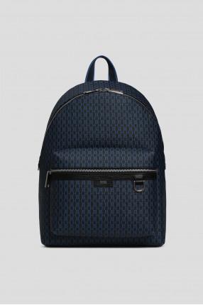 Мужской синий рюкзак с принтом