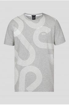 Мужская серая футболка с узором