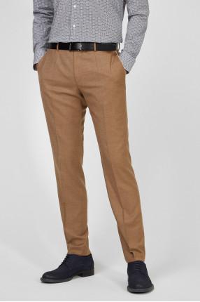 Мужские бежевые шерстяные брюки 1