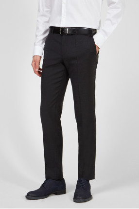 Мужские черные шерстяные брюки 1