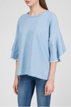 Женская голубая блуза 1