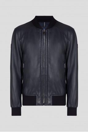 Мужской темно-синий кожаный бомбер