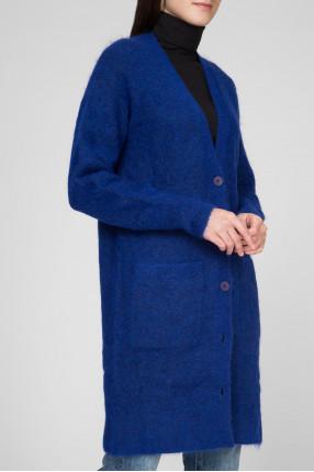 Женский синий шерстяной кардиган 1